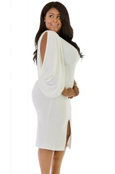 Chic Cold Shoulder Bodycon Plus Size Dress White Plus Size Dresses, Plus Size Gowns, Plus Size Outfits, White Dress, Plus Size Womens Clothing, Plus Size Fashion, Dresser, Plus Size Boutique, Lookbook