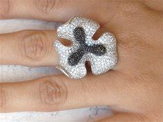 Sterling Black & White Crystal Ring