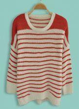 Orange Batwing Long Sleeve Striped Sweater $30.24