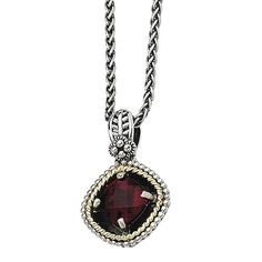 Versil Shey Couture Sterling Silver and 14k Gold Garnet 18-inch Necklace