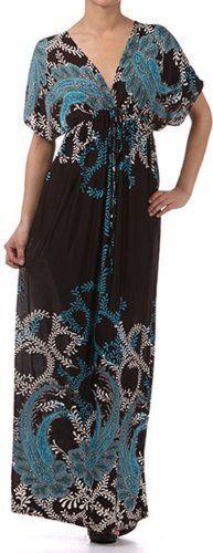 FOC1-1008 Paisley on Solid Black Graphic Print V-Neck Cap Sleeve Empire Waist Long / Maxi Dress - Turquoise Sakkas,http://www.amazon.com/dp/B008E7IA0I/ref=cm_sw_r_pi_dp_Ukf6qb0XQQ7EBBG3