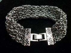 Byzantine Sheet Chainmaille Cuff Bracelet by GypsyGrove on Etsy, $30.00  - Love the clasp