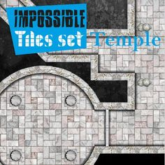 Impossible Tiles Set: Temple | Tile-able temple dungeon set for all possible combinations. Remember rotate, reflect, assemble all pieces with your imagination.  https://marketplace.roll20.net/browse/set/831/impossible-tiles-set-temple