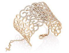 Casato Italian jewelry. Daphne cuff 18 kt rose gold, diamonds