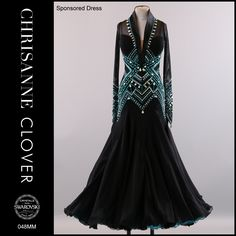Chrisanne black and blue teal crystal bodice design modern ballroom dress Latin Ballroom Dresses, Ballroom Dance Dresses, Ballroom Dancing, Pretty Dresses, Beautiful Dresses, Dance Accessories, Fantasy Dress, Luxury Dress, Dance Outfits