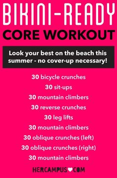 Get Bikini-Ready Abs in No Time With This Core Workout Get Bikini-Ready Abs in this Core Training Each Campus: Bikini Fitness, Bikini Workout, Bikini Body Diet, Bum Workout, Bikini Body Guide, Workout Men, Fit Girl Motivation, Fitness Motivation, Zumba