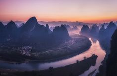 Mt.of Guilin - Mountain view in Guilin, China. Lucky to have some fog coming around:)