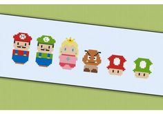 Mini People - Super Mario cross stitch pattern by cloudsfactory on DeviantArt Cross Stitching, Cross Stitch Embroidery, Cross Stitch Patterns, Perler Beads, Beading Patterns, Embroidery Patterns, Super Mario, Stitch Cartoon, Cross Stitch For Kids