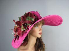 Pink Wedding Head Piece Kentucky Derby Hat by LadyHatsBoutique