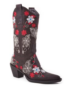 Western Style: Boots for the Family  -  Brown Floral Cowboy Boot - Zulily