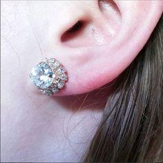 Halo Earrings, Sparkling Post Earrings, AAA Weddings, Christmas in July Sale Rose Gold Earrings, Unique Earrings, Butterfly Earrings, Diamond Earrings, Modern Jewelry, Fine Jewelry, Gifts For Wife, Gifts For Her, Cubic Zirconia Earrings