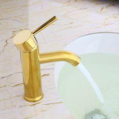 Brewst Modern Single Handle Solid Brass Bathroom Sink Faucet in Gold