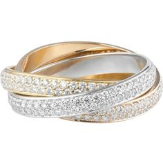 CARTIER Trinity de Cartier 18ct white, pink and yellow-gold diamond... (5.626.895 HUF) ❤ liked on Polyvore featuring jewelry, rings, white ring, gold diamond rings, gold rings, gold diamond jewelry and yellow gold diamond ring