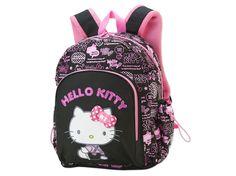 Hello Kitty School Kids Backpack Black Logo Large Size SANRIO