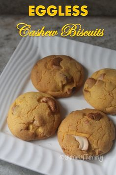 Delicious cashew cookies which taste so delicious with a cup of tea or coffee. This is a crunchy eggless cashew biscuit which is totally yum. Eggless Recipes, Eggless Baking, Tea Recipes, Baking Recipes, Cookie Recipes, Dessert Recipes, Passover Recipes, Cupcake Recipes, Desserts