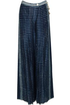 Indigo batik print palazzos by Urvashi Kaur. Shop at: http://www.perniaspopupshop.com/designers/urvashi-kaur #palazzo #pants #urvashikaur #shopnow #perniaspopupshop