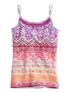 Girls Clothing   Camis   Colorful Patterned Cami With Fringe   Shop Justice