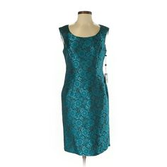 Adrianna Papell Casual Dress (€28) ❤ liked on Polyvore featuring dresses, teal, adrianna papell dresses, teal dress, teal blue dresses, teal green dress and blue dresses