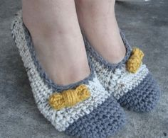Crochet Slippers with bow.  (picture is from inspiration; not a link to a pattern)