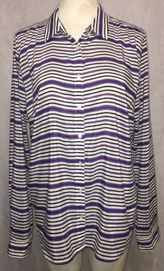 fc599cc941be9 JCP Sz XL Silk Cotton Shirt Blue White Orange Striped JC Penney Button  Front Top