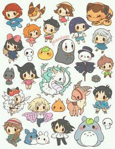 Cartoon Drawings Studio Ghibli themed sticker set ~ ☆ 1 - each☆ includes 26 pre-cut stickers printed on *NEW* LD glossy sticker paper - Studio Ghibli themed sticker set ~ ☆ 1 - each☆ includes 26 pre-cut stickers printed on *NEW* LD glossy sticker paper Anime Chibi, Anime Naruto, Totoro, Art Studio Ghibli, Studio Ghibli Movies, Studio Ghibli Characters, Arte Do Kawaii, Kawaii Art, Kawaii Chibi