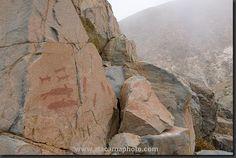 Ancient rock painting of whales and sea lions, El Medano near Antofagasta