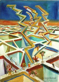 ciudad de los miradores, pinturas de Diego Manuel, Painting Cityscape Artwork - Fine Art by Diego Manuel