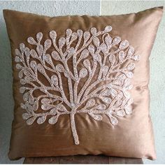 My Wish Tree - Euro Sham Covers - 26x26 Inches Silk Euro Sham Cover Embeliished with Beads