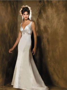 V-neck Beaded Satin A-line Vintage Wedding Dress