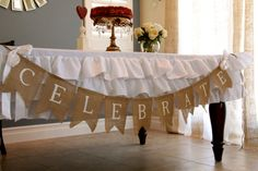 Burlap Projects and Ideas. Love the banner. Also want to do a lace doily around a vase and paint the vase Burlap Banner Wedding, Burlap Bunting, Burlap Flag, Burlap Garland, Burlap Banners, Buntings, Burlap Baby, Burlap Projects, Burlap Crafts