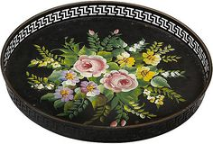 Toleware - Painted Tole Gallery Tray - Mom had this exact tray in dark green when I was growing up. JA