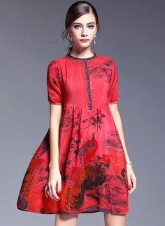 Silk Floral Short Sleeve Above Knee Vintage Dresses