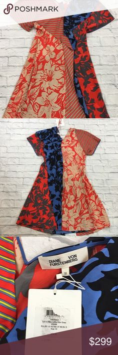 Short Sleeve Ruffle Front Silk V-Neck Dress *Flaw New $598 Diane von Furstenberg Women's Size 10 Multi-Color Short Sleeve Ruffle Front 100% Silk V-Neck Dress.  Additional Details: - Throw on this ruffle dress for date night or for a work event and wow everyone with it's contrasting silk patterns. - V-neck - Short sleeve - Ruffle front - Above Knee - Multipattern  **Dress is new with tags, but there are a few fabric pulls on right shoulder area (photo 6).  Please see photos for exact product…