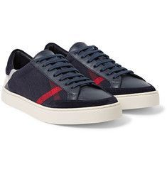 low priced 5a7b2 b9c38 Burberry - Suede-Trimmed Leather and Checked Canvas Sneakers. Jeff Kleid ·  Shoes portrait