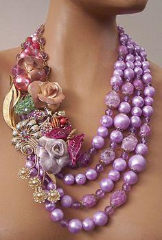 Remember Me Lavender Rose Statement Necklace