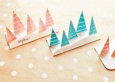 Cartes de Noël marque place  Pop Up à imprimer