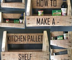 Pallet Tables Kitchen Pallet Shelf - My wife was wanting a headboard for our bed. I had some used pallets I had gathered for other projects so I decided to build a headboard. I searched around the . Wooden Pallet Furniture, Wooden Pallets, Wooden Diy, Diy Furniture, Palette Furniture, Furniture Showroom, Furniture Outlet, Furniture Plans, Luxury Furniture