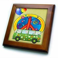 The 60s Peace,love,flower power van and peace sign art - 8x8 Framed Tile by 3dRose. $22.99. The 60s Peace,love,flower power van and peace sign art Framed Tile is measuring 8w x 8h x .75d. Made of solid wood with predrilled keyhole for easy wall mounting. Framed tile comes with 6w x 6h ceramic gloss tile attached to the wood frame.. Save 15% Off!