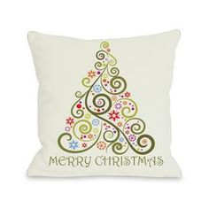 Merry Christmas Whimsical Tree Polyester Throw Pillow