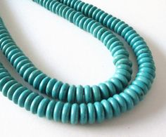 Turquoise Rondelle Beads  Blue Turquoise Howlite by BijiBijoux