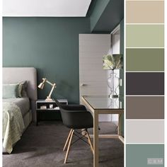 Good color matching is so comfortable! - Page 2 of 20 - Inspiration Diary Bedroom Colors, Bedroom Decor, Home Design, Interior Design, Interior Modern, Interior Paint Colors, Interior Plants, Living Room Color Schemes, Green Rooms
