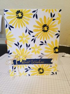 Stampin Up Blooms and Wishes, Daffodil Delight, Night of Navy