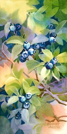 By Bridget Austin. Watercolor Negative Painting, Watercolor Fruit, Fruit Painting, Watercolor Artists, Watercolor Techniques, Watercolor Landscape, Watercolor And Ink, Watercolor Illustration, Watercolor Flowers