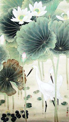 当代画家喻继高工笔花鸟作品选 I would love this in my bathroom. Japanese Painting, Chinese Painting, Lotus Painting, Lotus Art, Art Asiatique, Art Japonais, Korean Art, China Art, Japan Art