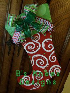 Decorative Stocking Door Hanger by TheBsKneesDesigns on Etsy