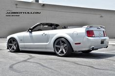 """AudioCityUSA.com - 2005 Ford Mustang GT **Convertible** on 20"""" STR Wheels 607 matte grey LOWERED on H&R Sprigs **DEEP CONCAVE**"""