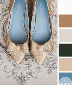 gold flats with slate blue interior on taupe background, color palettes, color combinations, color schemes, color for interiors, color ideas, pantone niagara, slate blue, smoky blue, french blue, dusty blue, golden beige, golden brown, black, taupe gray, warm white, wedding inspired color palettes