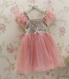 Pink and Gold Glitter Dress, Flower Girl Dress, Baby Toddler Little Girl Flutter Sleeve Dress, Sparkle Glitter Sequin Blush Princess Dress by InfantileShop on Etsy https://www.etsy.com/listing/225884475/pink-and-gold-glitter-dress-flower-girl