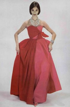 Red velvet and pink satin dress by Mme. Gres, 1960.