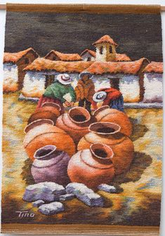 Handwoven Tapestry ANDEAN POTS I by TinoArt on Etsy